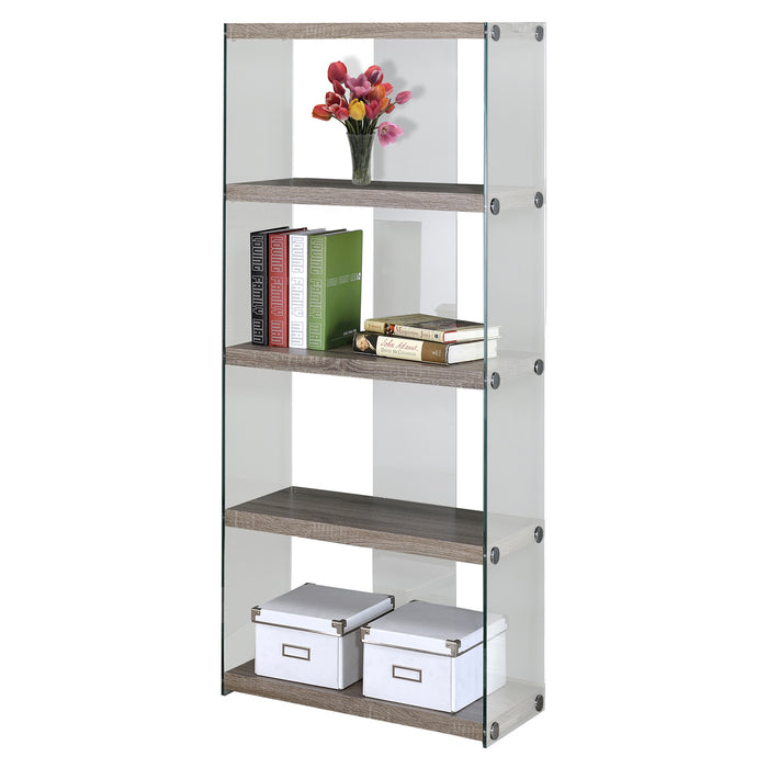 "HomeRoots Office 60"" Particle Board and Clear Tempered Glass Bookcase"