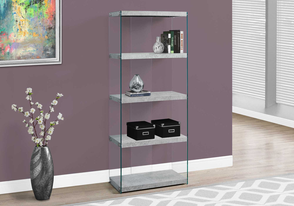 "HomeRoots Office 60"" Grey Cement Particle Board and Clear Tempered Glass Bookcase"