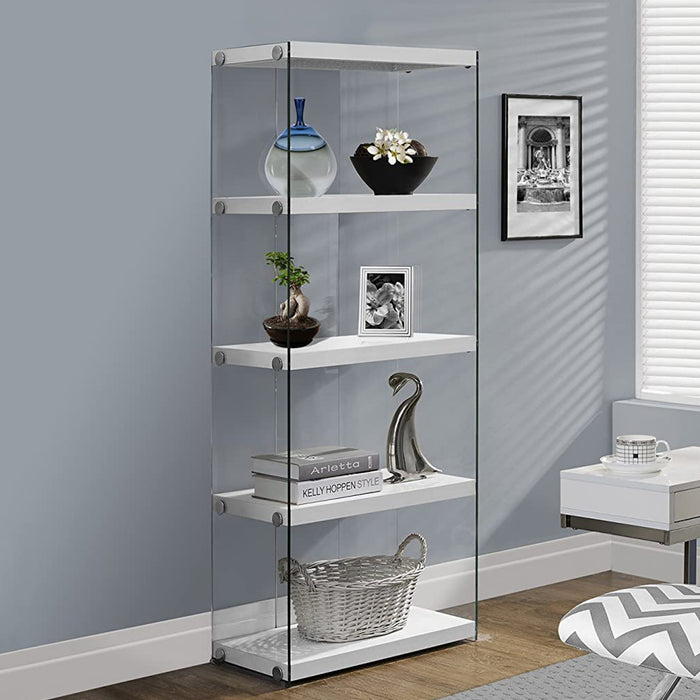 "HomeRoots Office 12"" x 24"" x 58'.75"" White, Clear, Particle Board, Tempered Glass - Bookcase"