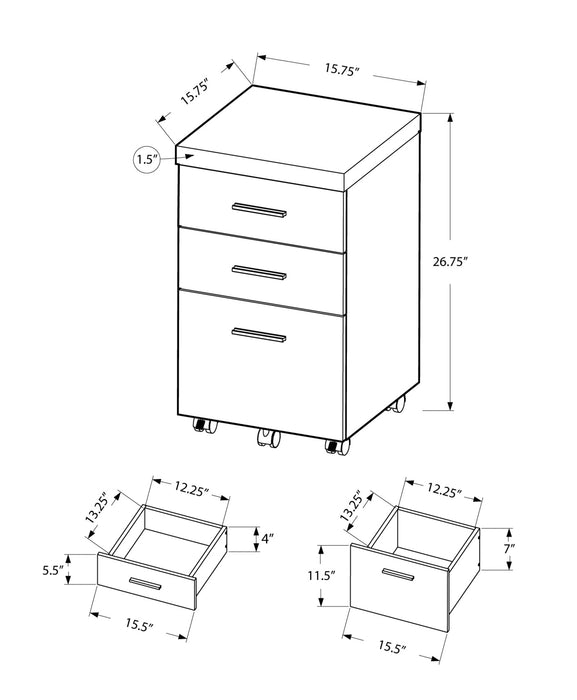 "HomeRoots Office 26.75"" Cappuccino Particle Board and Hollow Core Filing Cabinet with 3 Drawers"