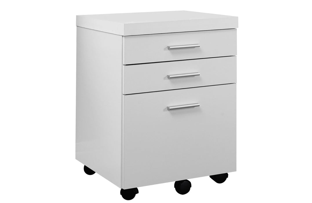 "HomeRoots Office 17'.75"" x 18'.25"" x 25'.25"" White, Black, Particle Board, 3 Drawers - Filing Cabinet"