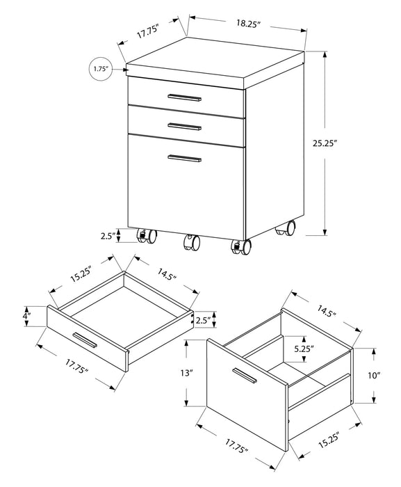 "HomeRoots Office 25.25"" White Particle Board and MDF Filing Cabinet with 3 Drawers"