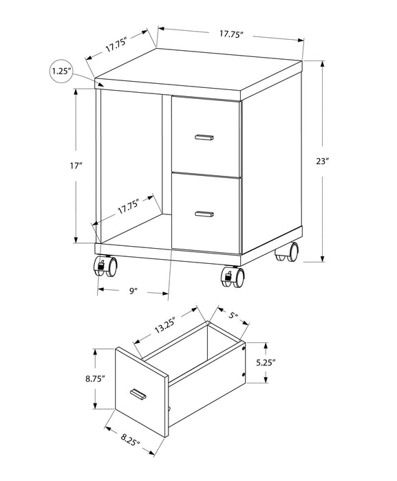 "HomeRoots Office 17'.75"" x 17'.75"" x 23"" White, Particle Board, Hollow-Core, 2 Drawers - Office Cabinet"