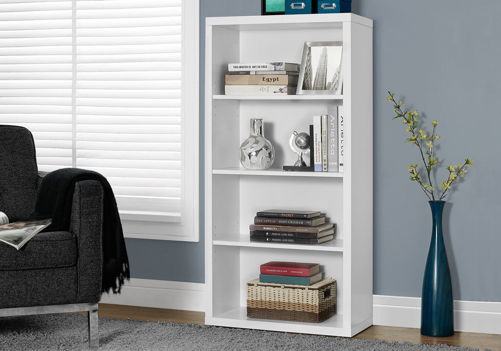 "HomeRoots Office 47.5"" White Particle Board and MDF Bookshelf with Adjustable Shelves"