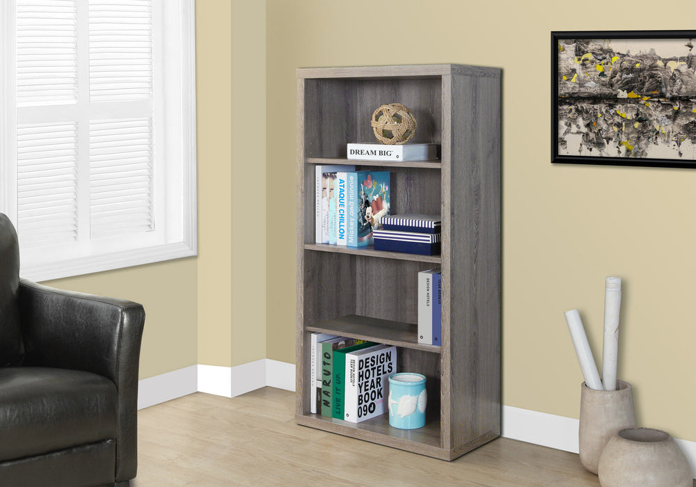 "HomeRoots Office 47.5"" Dark Taupe Particle Board and MDF Bookshelf with Adjustable Shelves"
