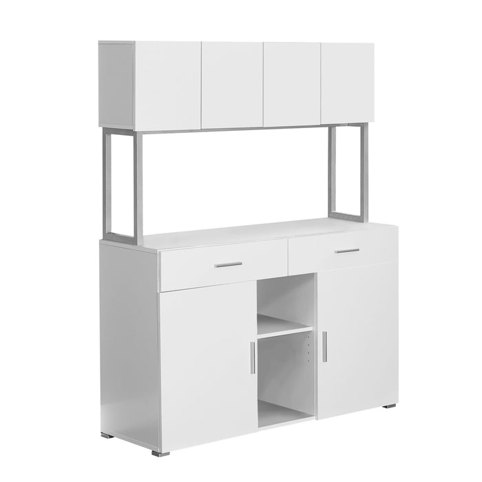 "HomeRoots Office 16'.25"" x 47'.25"" x 60"" White, Silver, Particle Board, Hollow-Core, Metal - Office Cabinet"