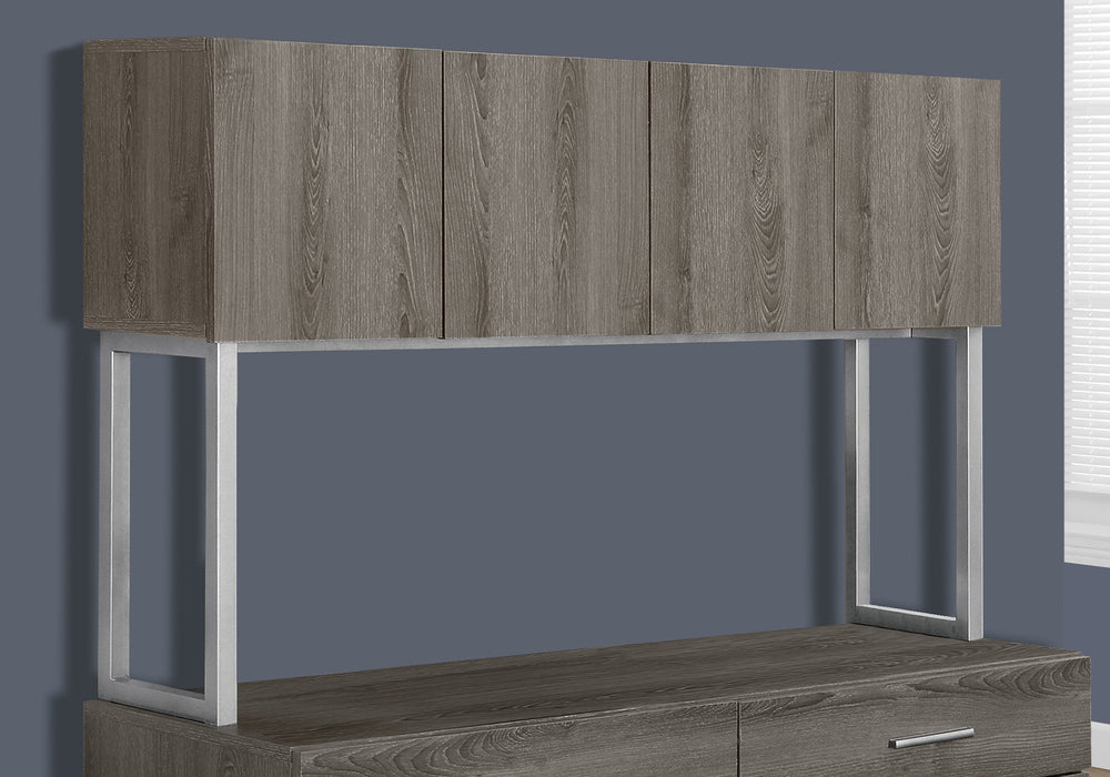 "HomeRoots Office 16'.25"" x 47'.25"" x 60"" Dark Taupe, Silver, Particle Board, Hollow-Core, Metal - Office Cabinet"