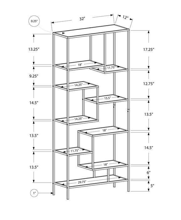 "HomeRoots Office 72"" Metal and Tempered Glass Bookcase"
