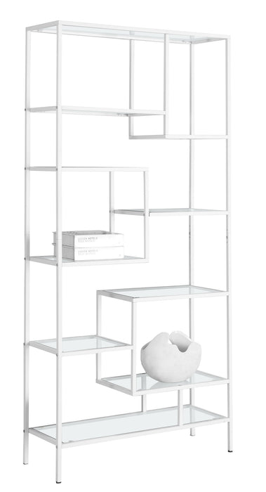 "HomeRoots Office 12"" x 32"" x 72"" White, Clear, Tempered Glass, Metal - Bookcase"