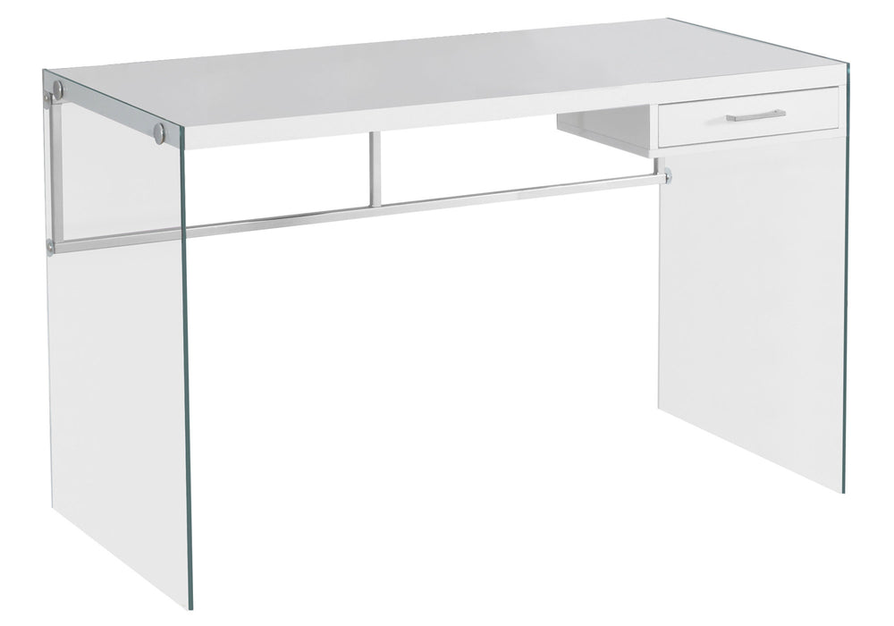 "HomeRoots Office 23'.75"" x 48"" x 30"" White, Clear, Particle Board, Glass, Metal, Tempered Glass - Computer Desk"