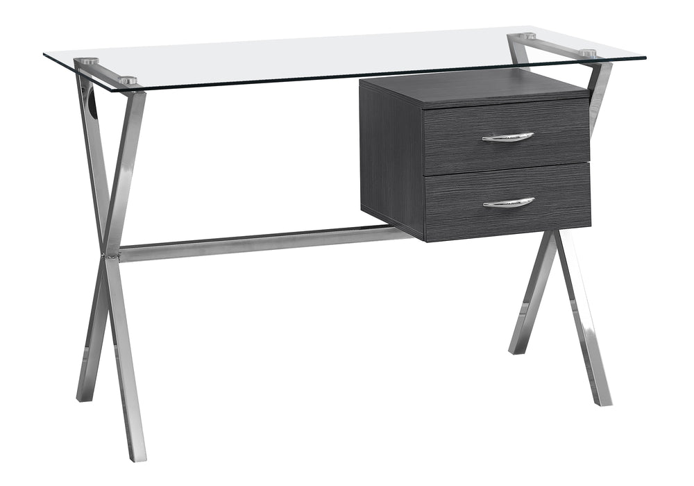 "HomeRoots Office 24"" x 48"" x 30'.25"" Grey, Tempered Glass, Metal, Particle Board - Computer Desk"