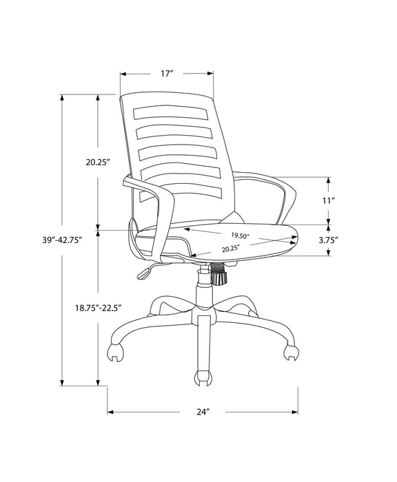 "HomeRoots Office 24'.25"" x 24"" x 39"" White, Grey, Foam, Metal, Nylon, - Multi Position Office Chair"