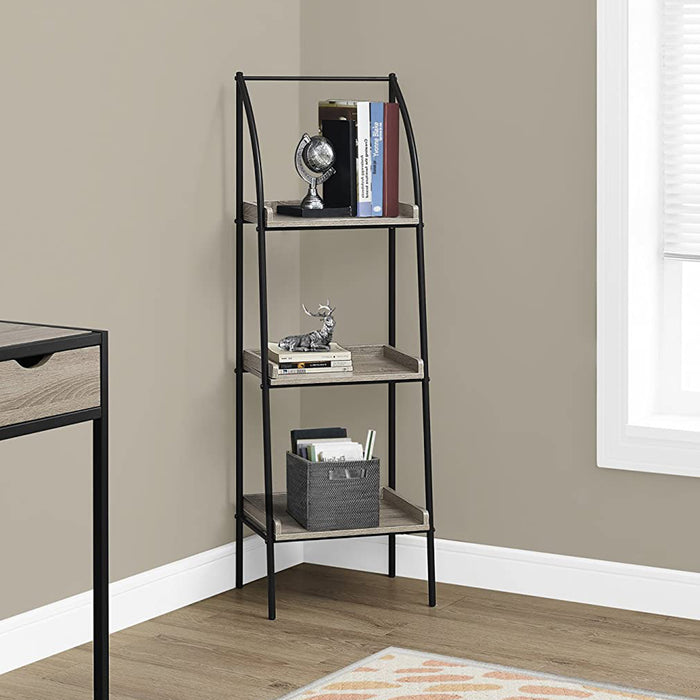 "HomeRoots Office 12"" x 16"" x 48"" Dark Taupe, Black, Mdf, Metal - Bookshelf"