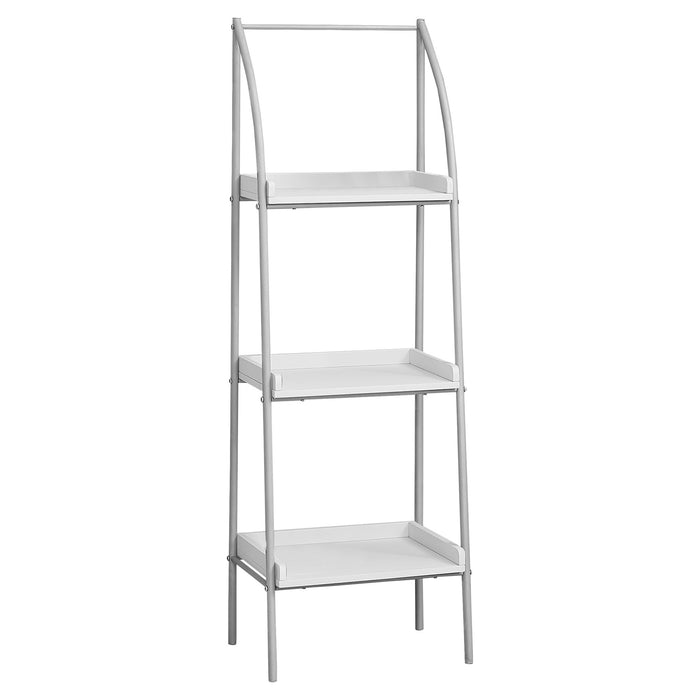 "HomeRoots Office 12"" x 16"" x 48"" White, Silver, Mdf, Metal - Bookshelf"