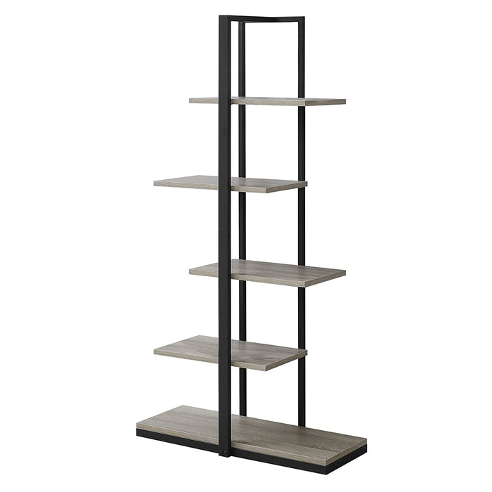 "HomeRoots Office 13"" x 32"" x 60"" Dark Taupe, Black, Mdf, Metal - Bookshelf"