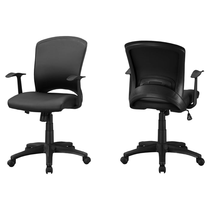 "HomeRoots Office 23.75"" x 24.5"" x 74.75"" Black, Foam, Metal, Nylon - Office Chair"