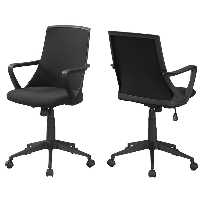 "HomeRoots Office 24"" x 22'.5"" x 78"" Black, Foam, Mdf, Metal - Multi Position Office Chair"