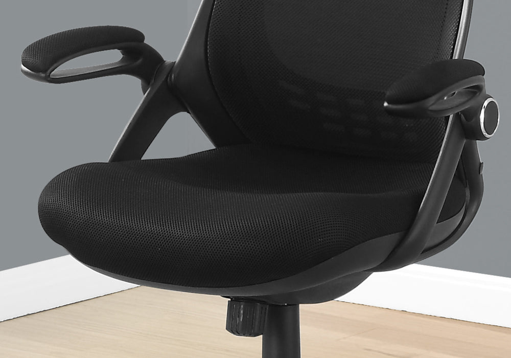 "HomeRoots Office 23'.75"" x 28"" x 93'.75"" Black, Foam, Metal - Office Chair With A High Back"
