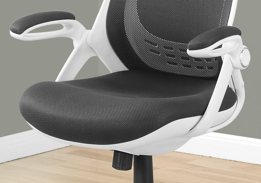 "HomeRoots Office 23'.75"" x 28"" x 93'.75"" White, Grey, Foam - Office Chair With A High Back"