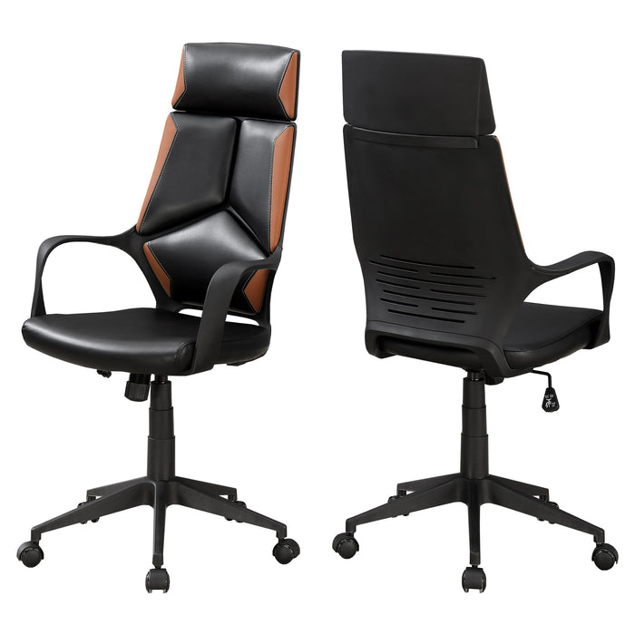 "HomeRoots Office 24'.5"" x 25"" x 95'.5"" Black, Brown, Foam, MetalLeather-Look - Office Chair"