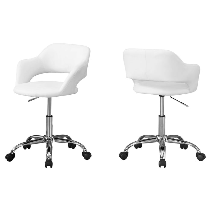 "HomeRoots Office 21"" x 22'.5"" x 29"" White, Foam, Metal, Leather-Look, Lift Base - Office Chair"