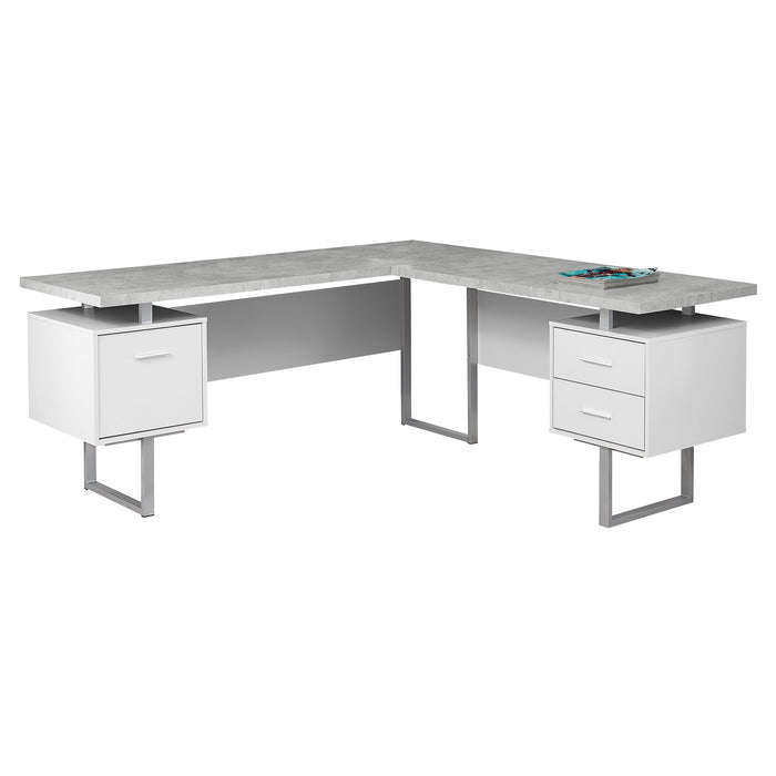 "HomeRoots Office 71"" x 71"" x 30""  Silver, Particle Board, Hollow-Core, Metal - Computer Desk"