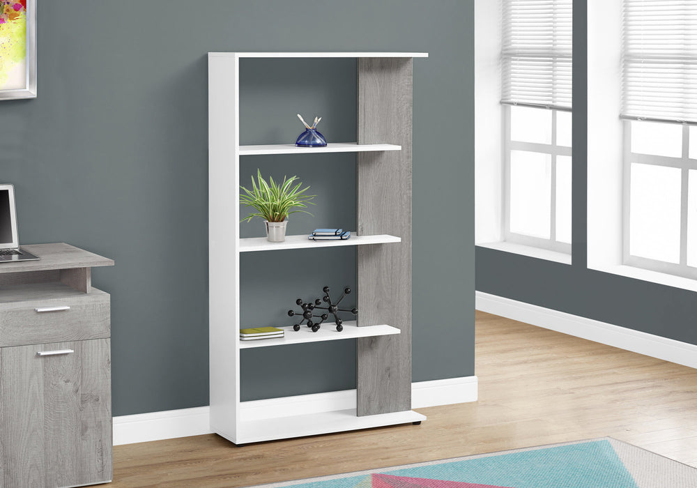 "HomeRoots Office 9"" x 31'.5"" x 55'.75"" White, Grey, Particle Board - Bookshelf"