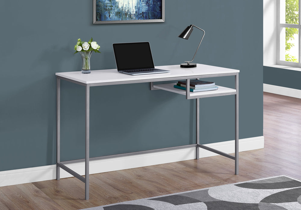 "HomeRoots Office 30"" White MDF and White Metal Computer Desk"