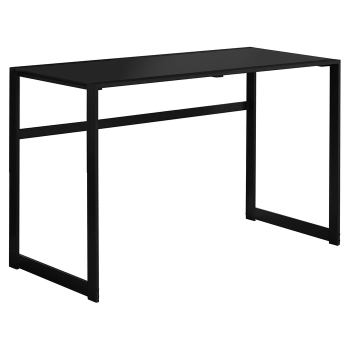 "HomeRoots Office 22"" x 48"" x 30"" Black, Black, Tempered Glass, Metal - Computer Desk"