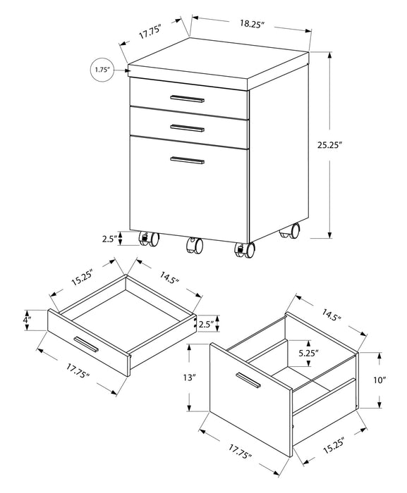 "HomeRoots Office 25.25"" Particle Board and MDF Filing Cabinet with 3 Drawers"