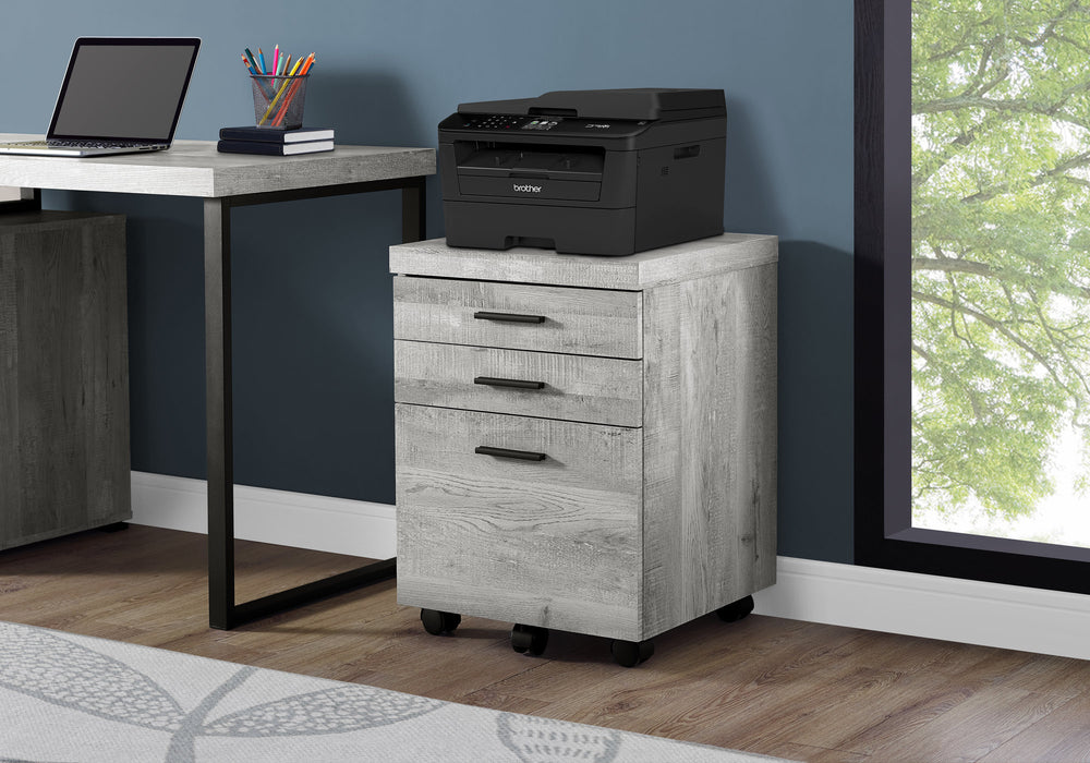 "HomeRoots Office 25.25"" Grey Particle Board and MDF Filing Cabinet with 3 Drawers"