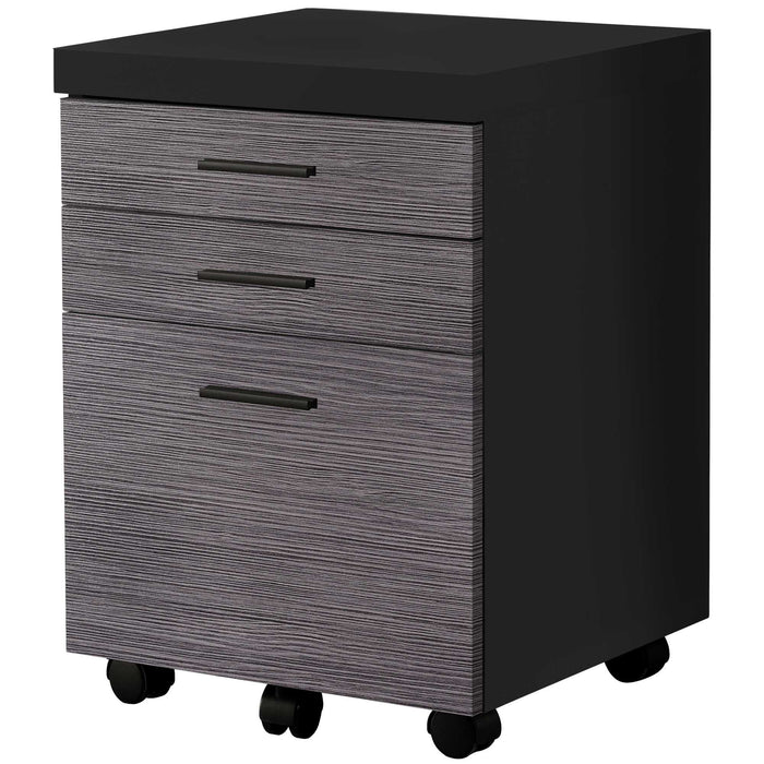 "HomeRoots Office 17'.75"" x 18'.25"" x 25'.25"" Black, Grey, Particle Board, 3 Drawers - Filing Cabinet"