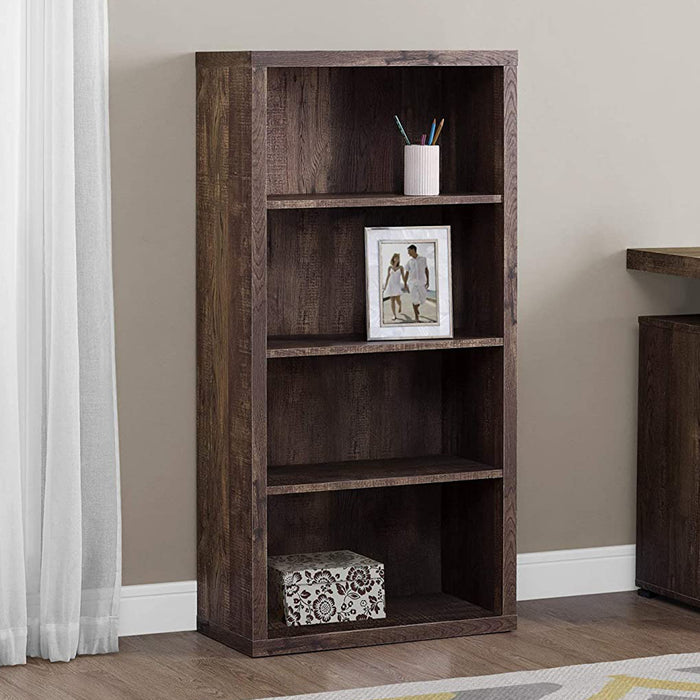 "HomeRoots Office 11'.75"" x 23'.75"" x 47'.5"" Brown, Particle Board, Adjustable Shelves - Bookshelf"