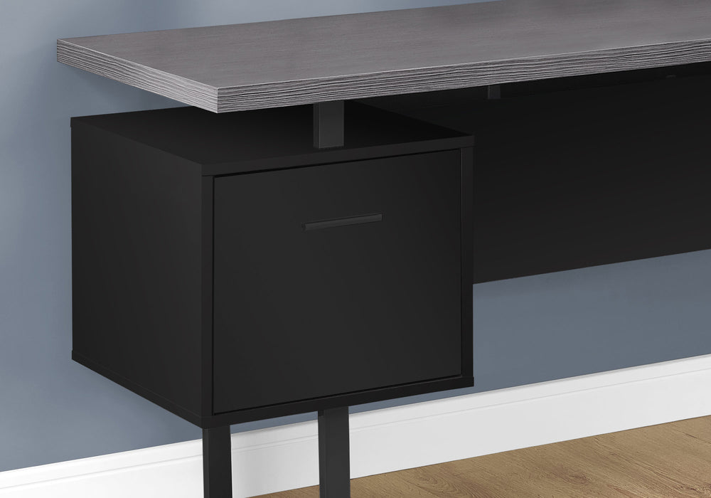 "HomeRoots Office 71"" x 71"" x 30"" Black, Grey, Particle Board, Hollow-Core, Metal - Computer Desk"