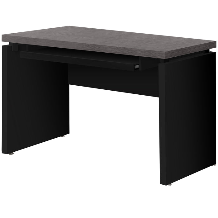 "HomeRoots Office 30.75"" Black Particle Board, MDF, and Laminate Computer Desk with a Grey Top"