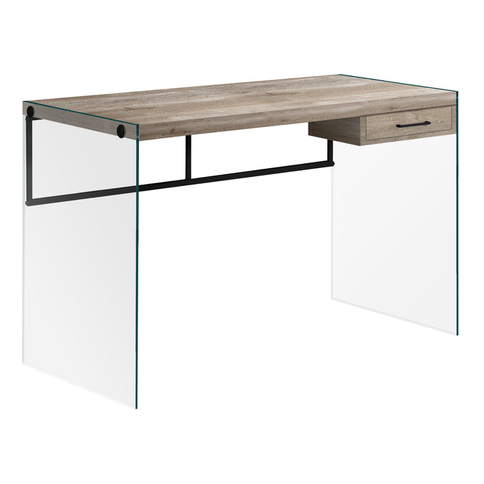 "HomeRoots Office 23'.75"" x 48"" x 30"" Taupe, Black, Clear, Particle Board, Glass, Metal, Tempered Gl - Computer Desk"