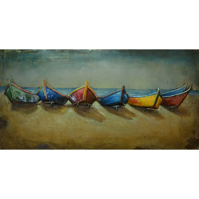 HomeRoots Boats On Beach Nautical Wall decor in Iron