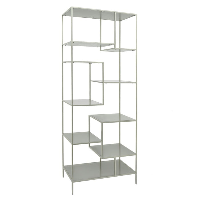 HomeRoots Office Metal & Wood Shelving Unit With Multiple Shelves, White