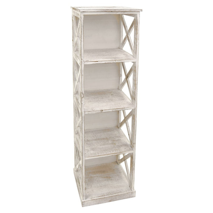 HomeRoots Office Wooden 4 Shelves Storage Rack, Distressed White