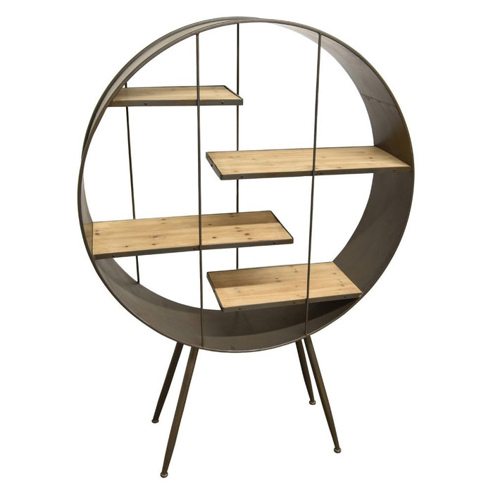 HomeRoots Office Wooden and Metal Round Shelving Unit With 4 Shelves