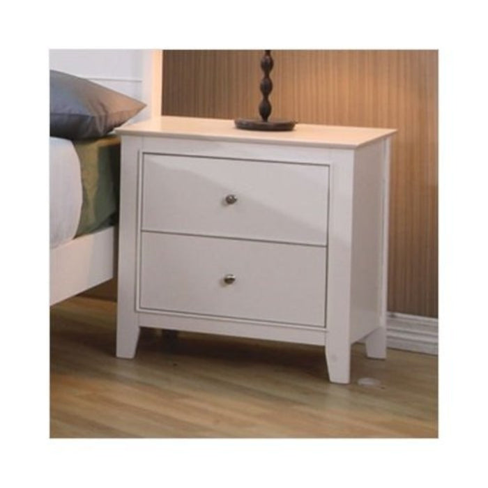 HomeRoots Office Nightstand With 2 Drawers, White