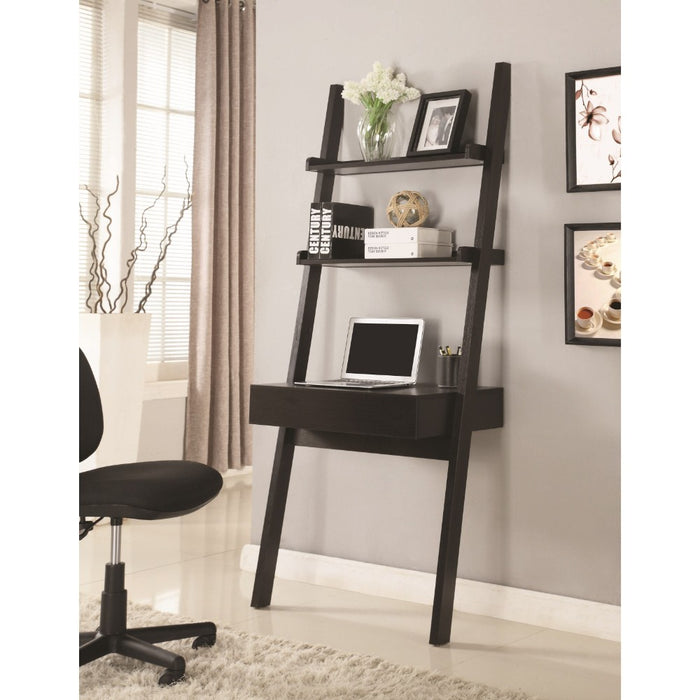 HomeRoots Office Ladder Desk With One Drawer, Cappuccino