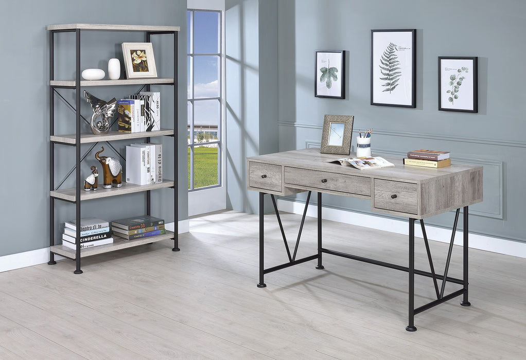 HomeRoots Office Writing Desk3 Drawer, Driftwood Gray
