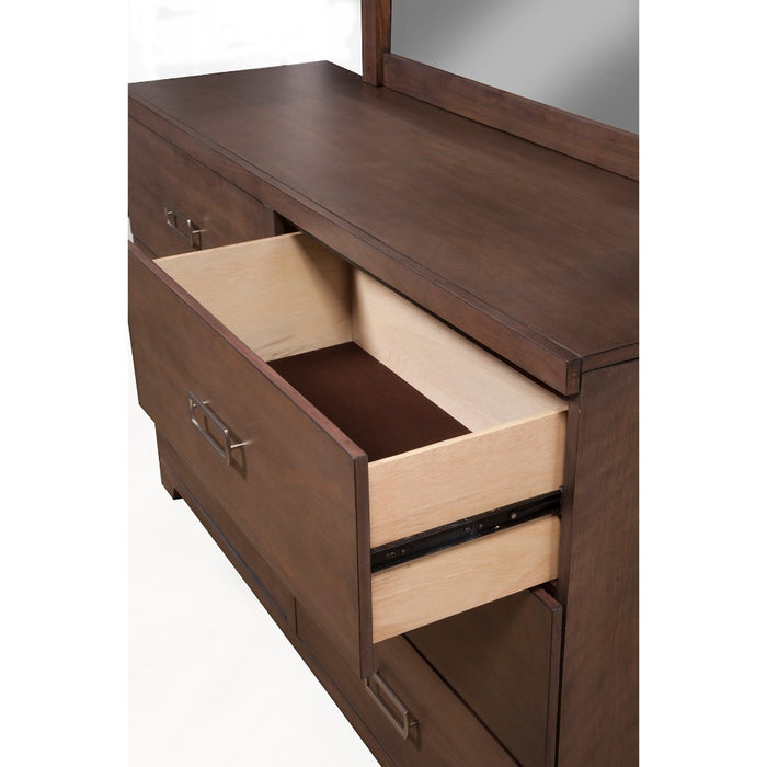 HomeRoots Office Mahogany And Okoume Wood 6 Drawer Dresser in Brown