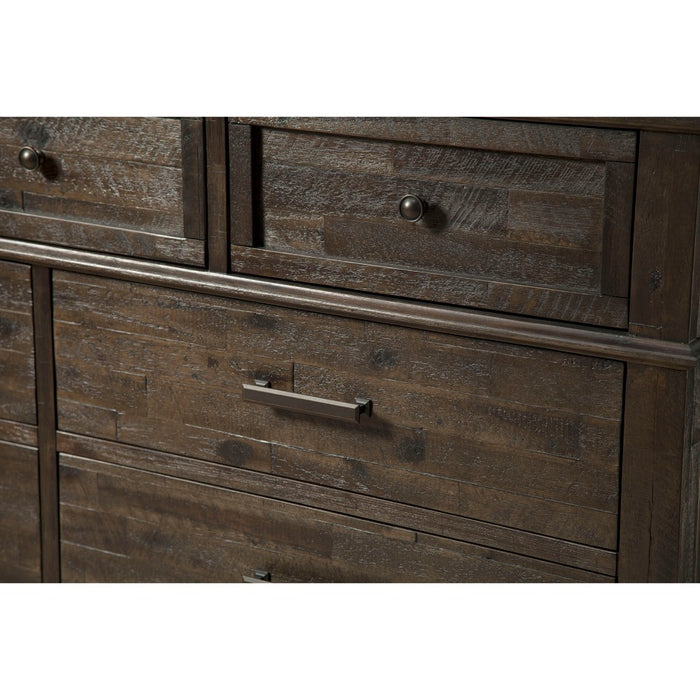 HomeRoots Office Spacious Wooden Dresser with 9 Drawers Brown