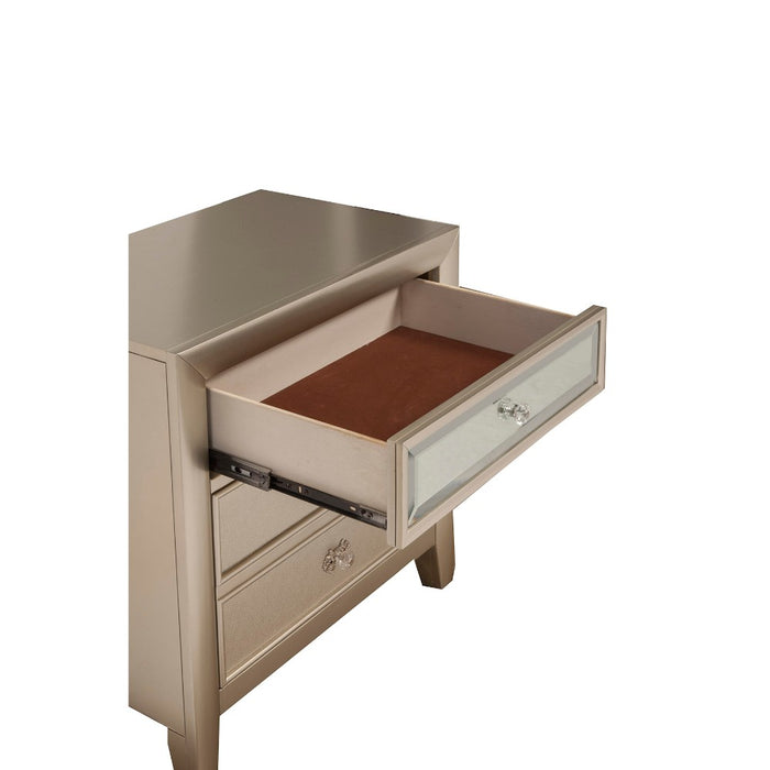 HomeRoots Office Pine Wood Nightstand with 2 Drawers, Silver