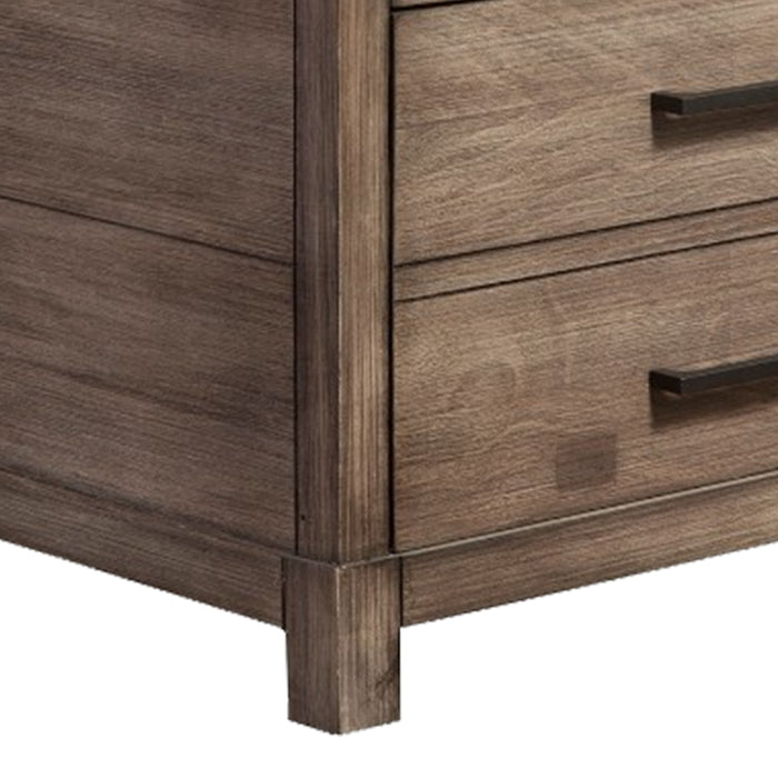 HomeRoots Office Nightstand with 3 Drawers  Brown