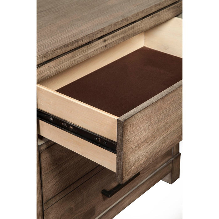 HomeRoots Office Capacious 6 Drawer Dresser In Mahogany Wood,  Brown