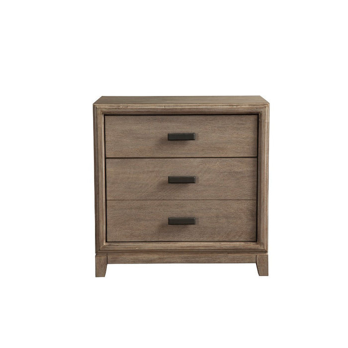 HomeRoots Office Wooden Nightstand with 3 Drawer, Brown