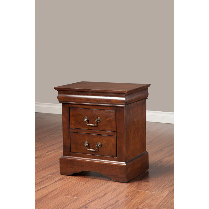 HomeRoots Office Rubberwood 2 Drawer Nightstand With Antique Handles Brown